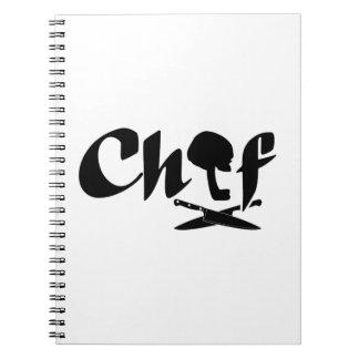 Logotipo do cozinheiro chefe caderno espiral