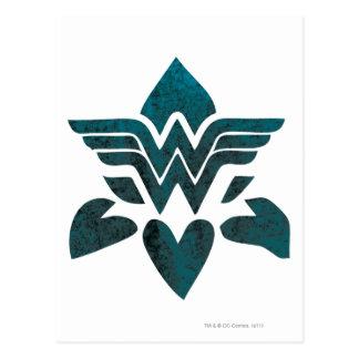 Logotipo do Grunge da mulher maravilha Cartão Postal