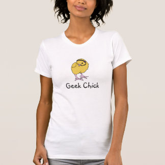 Logotipo do pintinho do geek (branco) t-shirt