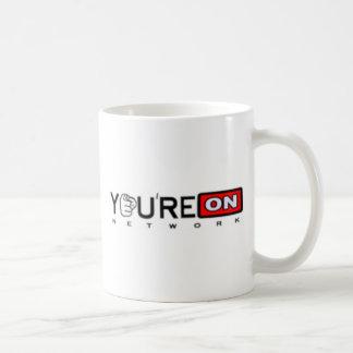 Logotipo do preto da rede do ponto de YoureOn Caneca De Café