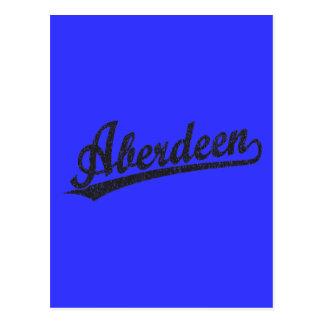 Logotipo do roteiro de Aberdeen no preto afligido Cartão Postal