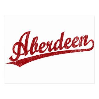 Logotipo do roteiro de Aberdeen no vermelho Cartão Postal