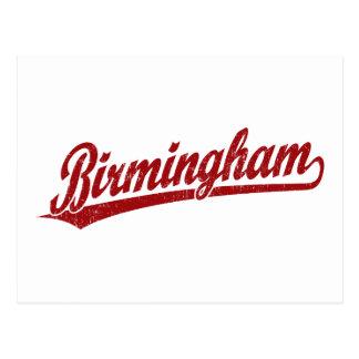 Logotipo do roteiro de Birmingham no vermelho Cartão Postal