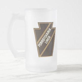 Logotipo do vintage da estrada de ferro de caneca de cerveja vidro jateado