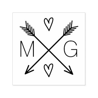 Logotipo dobro do casamento do monograma dos carimbo auto entintado
