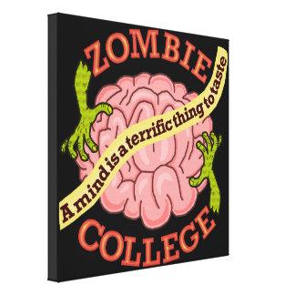 Logotipo engraçado da faculdade do zombi impressão em tela