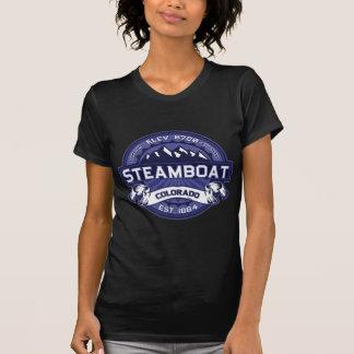 Logotipo escuro da meia-noite do barco a vapor t-shirts
