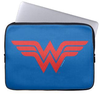Logotipo vermelho da mulher maravilha bolsas e capas para computadores