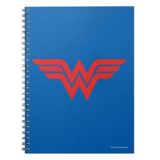 Logotipo vermelho da mulher maravilha caderno espiral