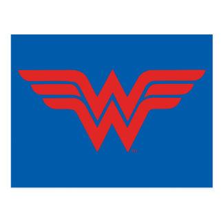 Logotipo vermelho da mulher maravilha cartão postal