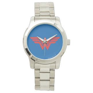 Logotipo vermelho da mulher maravilha relógio de pulso