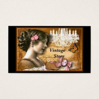 Loja antiga da loja do vintage cartão de visitas