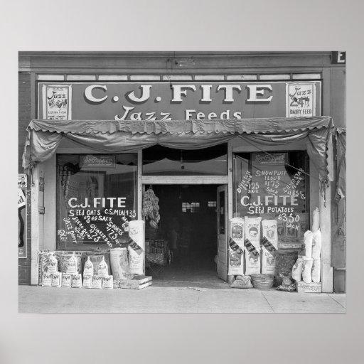 Loja da alimentação da cidade pequena, 1936 posters