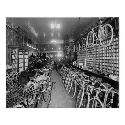 Loja da bicicleta & da motocicleta, 1910 impressão