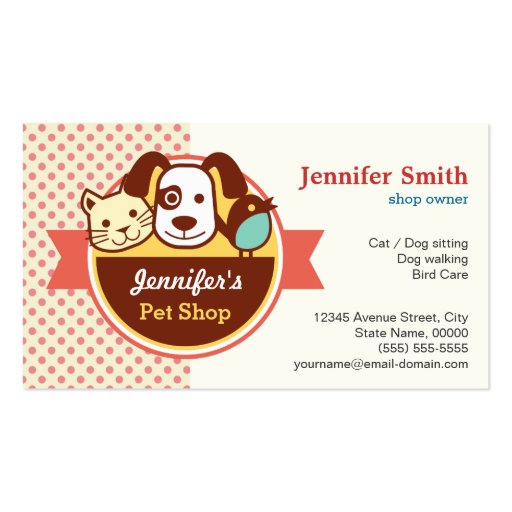 Loja de animais de estimação - bolinhas bonitos modelos cartões de visita