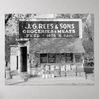 Loja do mantimento & da alimentação, 1938 impressão