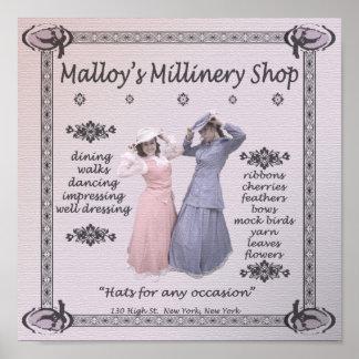 Loja do Millinery de Malloy Posteres