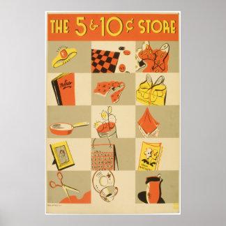 Loja do níquel e de moeda de dez centavos poster