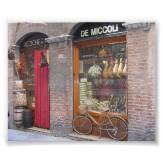 Loja italiana com uma bicicleta poster