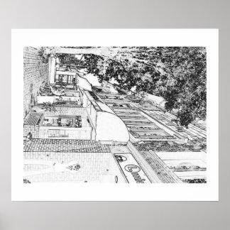 Lojas do quadrado de Marietta - arte da foto do cr Impressão