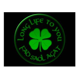 Longa vida a você dizer irlandês cartão postal