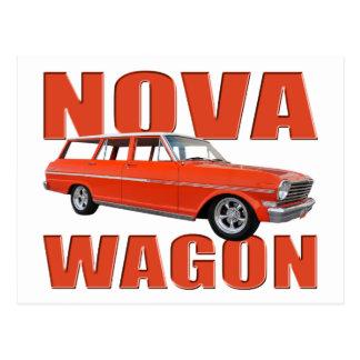 longroof chevy vermelho do vagão da nova 1963 II Cartão Postal