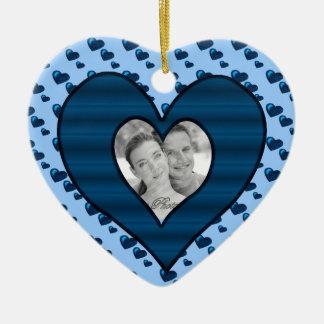 Lotes do amor (teste padrão) (azul) do coração ornamento de cerâmica coração