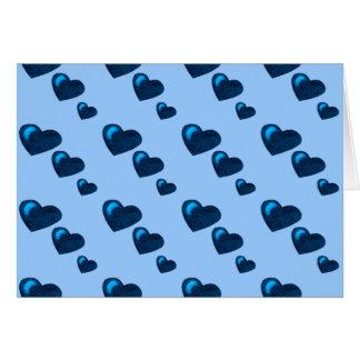 Lotes do amor (teste padrão) do coração (azul) cartão comemorativo