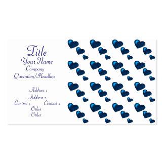 Lotes do amor (teste padrão) do coração (azul) cartão de visita