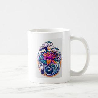 lótus nas ondas caneca de café