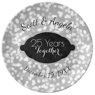 Louça De Jantar 25o Prata da lembrança do aniversário de casamento
