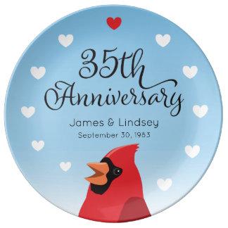 Louça De Jantar 35o Aniversário, cardeal e corações de casamento