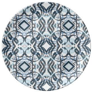 Louça De Jantar Dinnerplate caligráfico no azul mergulhado
