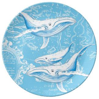 Louça De Jantar Família das baleias azuis