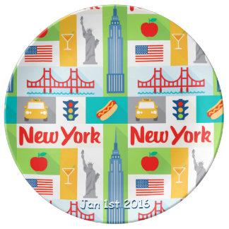 Louça De Jantar placa comemorativa da porcelana da data de New
