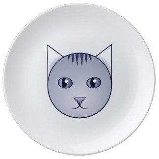 Louça De Jantar Placa decorativa do gato malhado dos desenhos