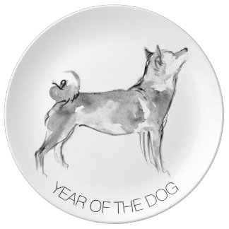 Louça De Jantar Shiba Inu que pinta 1 placa de coletor do ano do