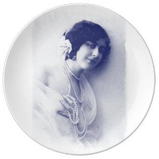 Louça Senhora azul da pérola do vintage, foto do vintage