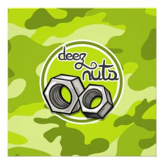 Loucos engraçados camo verde-claro camuflagem convites