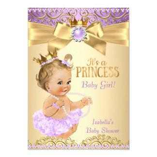 Louro da princesa chá de fraldas da bailarina do convite 12.7 x 17.78cm