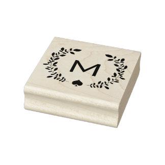 Louro & pá do monograma carimbo de borracha