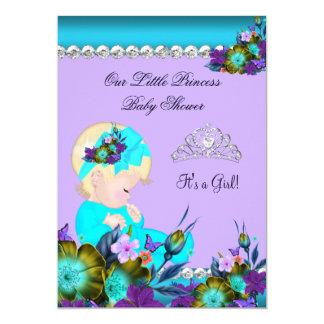Louro roxo azul da cerceta da menina da princesa convites personalizado
