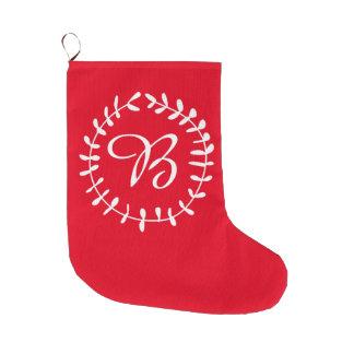 Louro vermelho do monograma das meias do Natal Bota De Natal Grande
