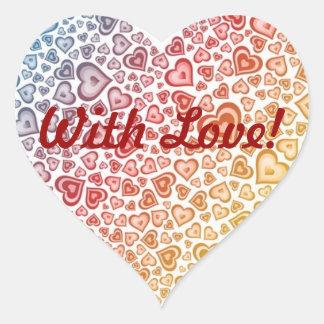Love Gift Heart Label - Heart sticker - With Love Adesivo Coração