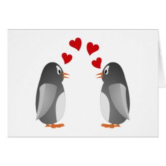 love namorou pinguins penguins cartão comemorativo