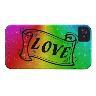 Love on Rainbow em elefante skin Leather optic Capinhas iPhone 4