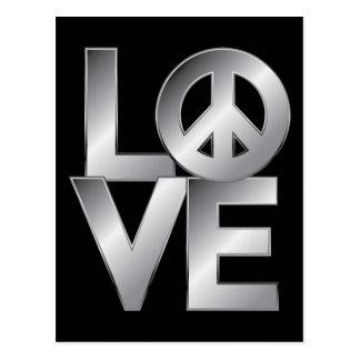 LOVE=Peace de prata Cartão Postal