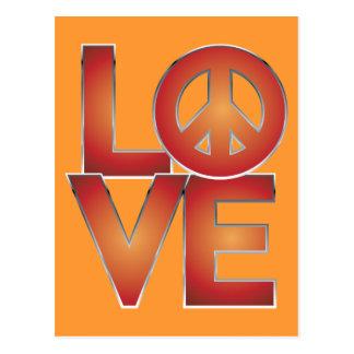 LOVE=Peace vermelho Cartoes Postais