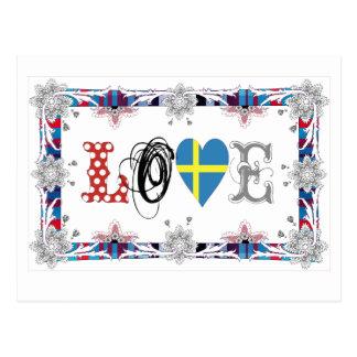 Love Sweden Cartao Postal