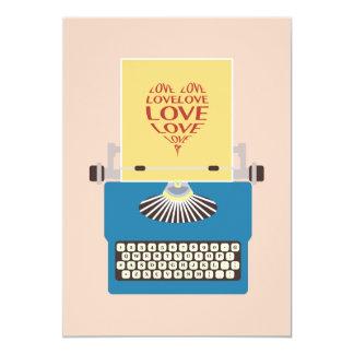 Love Typewriter, Greeting card Convite 12.7 X 17.78cm